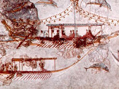 Fresco of ancient ships