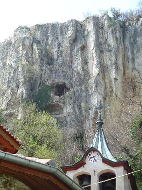 The rocks above the monastery