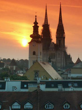 The setting sun behind Zagreb Gothic Cathedral